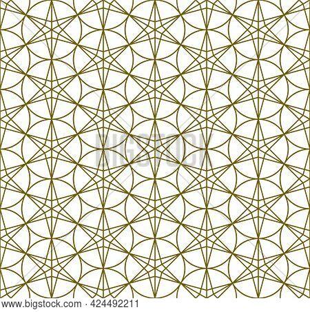 A Seamless Pattern Based On Elements Of The Traditional Japanese Craft Kumiko Zaiku. Average Thickne