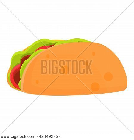 Takeaway Taco Icon. Cartoon Of Takeaway Taco Vector Icon For Web Design Isolated On White Background