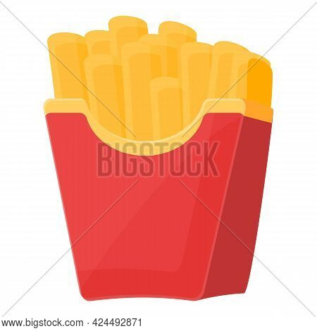 Takeaway French Fries Icon. Cartoon Of Takeaway French Fries Vector Icon For Web Design Isolated On