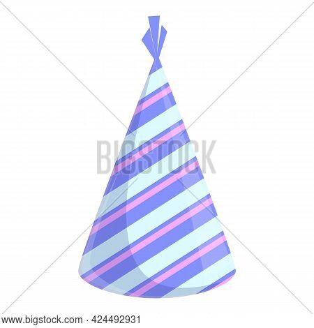 Party Hat Blue With Stripes Icon. Cartoon Of Party Hat Blue With Stripes Vector Icon For Web Design