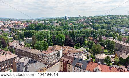 Cesky Tesin, Czech Republic - June 5, 2021: Aerial View On City Center Of Cesky Tesin In Czech Repub