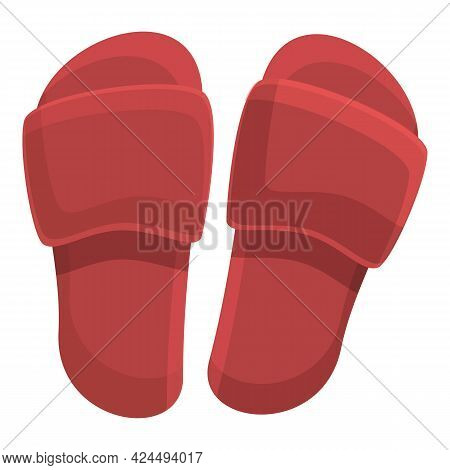 Beach Slippers Icon. Cartoon Of Beach Slippers Vector Icon For Web Design Isolated On White Backgrou