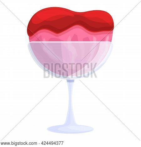 Ice Cream With Strawberry Jam Icon. Cartoon Of Ice Cream With Strawberry Jam Vector Icon For Web Des