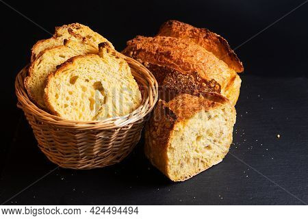 Food Concept Artisan Crusty Cornbread On Black Background With Copy Space