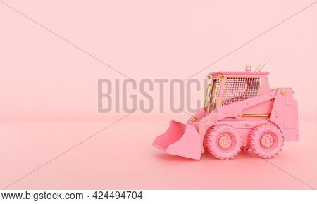 small pink and gold bulldozer on a pink background. 3d render.