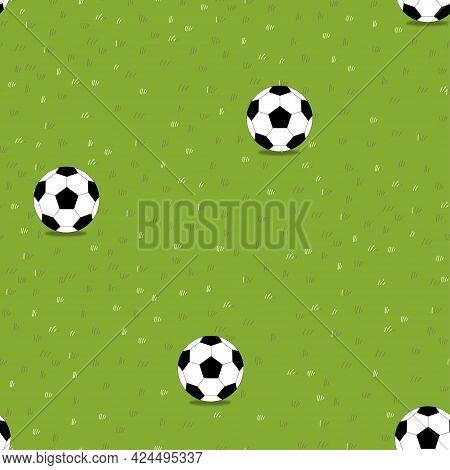 Lawn Grass Seamless With Football In Summer Field,vector Cartoon Soccer Ball On Nature Green Field T