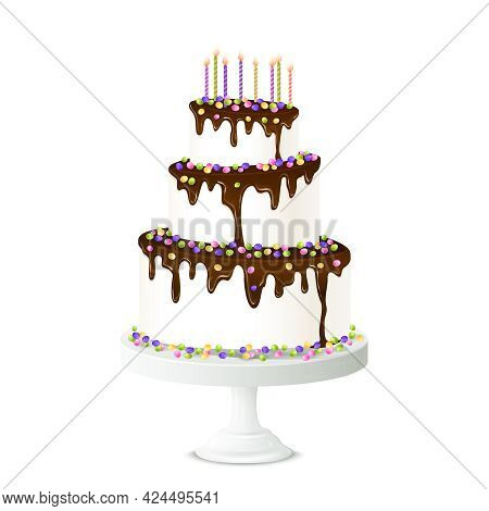 Realistic Birthday Cake With Chocolate Icing Candles And Sweet Drops Vector Illustration