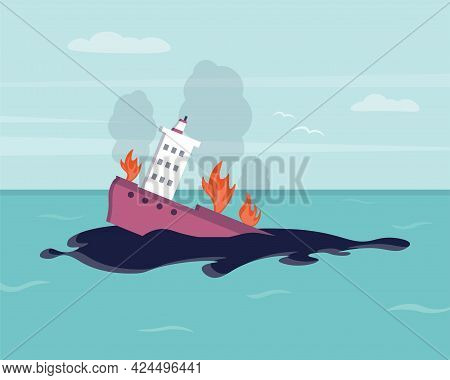 Oil Spill On Water. Ecological Disaster. Environmental Pollution. Ecological Problem. Burning, Sinki