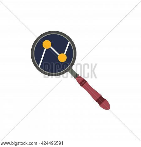 Magnifying Glass Vector Icon Symbol Search Tool Illustration. Research Lens For Discovery Look Isola