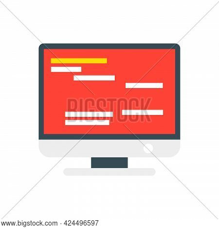 Computer Monitor Electronic Screen Icon Vector Illustration Design. Pc Device Equipment Office Monit