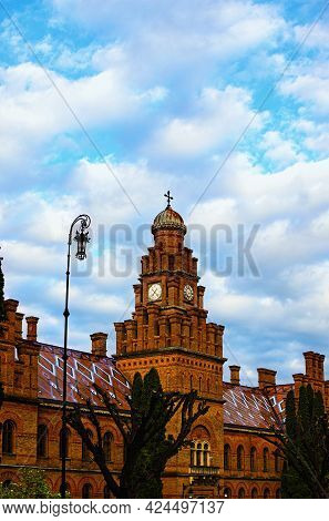 Amazing  Landscape View Of Ancient Red Brick Building In Residence Of Bukovinian And Dalmatian Metro