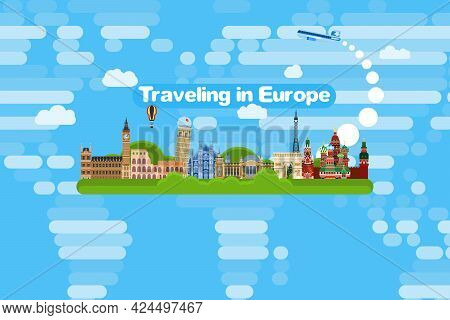 Travel Around Europe By Plane To The Sights. Flat