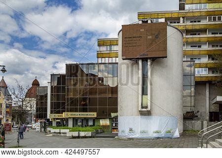 Targu Mures, Mures, Romania - April 24, 2021: Romanian Bank Headquarters On April 24, 2021 In  Targu