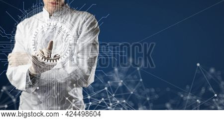 Professional Doctor Using Futuristic Ar Interface Hud, Hand Touch Button