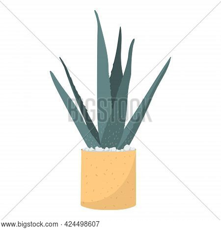 Vector Isolated Illustration Of Growing Plants At Home. Homeplant Aloe Vera With Long Leaves In A Cl
