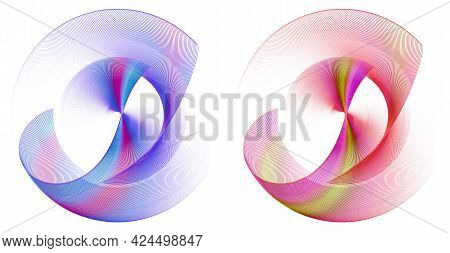 Red And Blue, With Multi-colored Stripes, Transparent Wavy Elements Elegantly Curved And Rotated Aga