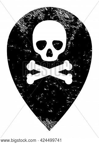 Dead Place Marker Icon With Grunge Effect. Isolated Raster Dead Place Marker Icon Image With Grunge