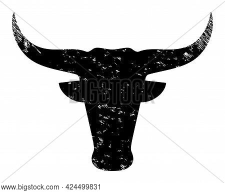 Bull Head Icon With Scratched Style. Isolated Raster Bull Head Icon Image With Scratched Rubber Text