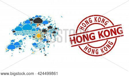 Climate Mosaic Map Of Hong Kong, And Scratched Red Round Stamp Seal. Geographic Vector Mosaic Map Of