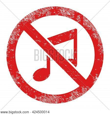 Forbidden Music Icon With Scratched Style. Isolated Raster Forbidden Music Icon Image With Corroded