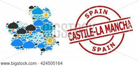 Weather Pattern Map Of Castile-la Mancha Province, And Grunge Red Round Seal. Geographic Vector Comp