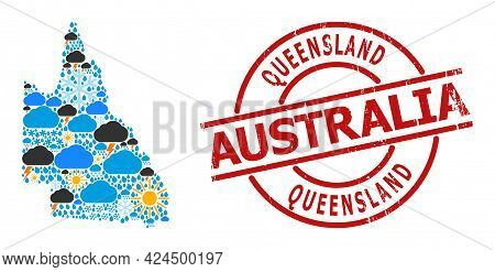 Weather Collage Map Of Australian Queensland, And Distress Red Round Badge. Geographic Vector Mosaic