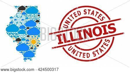 Weather Collage Map Of Illinois State, And Grunge Red Round Badge. Geographic Vector Collage Map Of