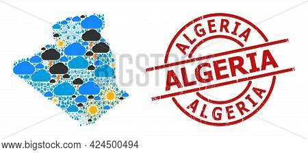 Weather Collage Map Of Algeria, And Scratched Red Round Stamp Seal. Geographic Vector Collage Map Of