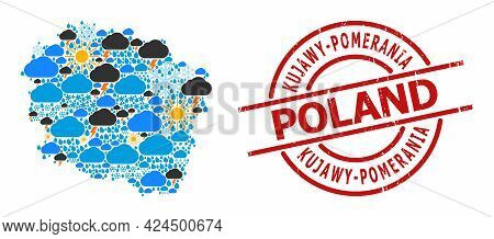 Weather Collage Map Of Kujawy-pomerania Province, And Rubber Red Round Stamp Seal. Geographic Vector