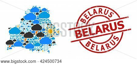 Climate Collage Map Of Belarus, And Grunge Red Round Stamp Seal. Geographic Vector Collage Map Of Be