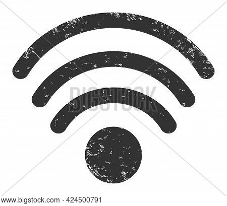 Wi-fi Source Icon With Grunge Effect. Isolated Raster Wi-fi Source Icon Image With Corroded Rubber T