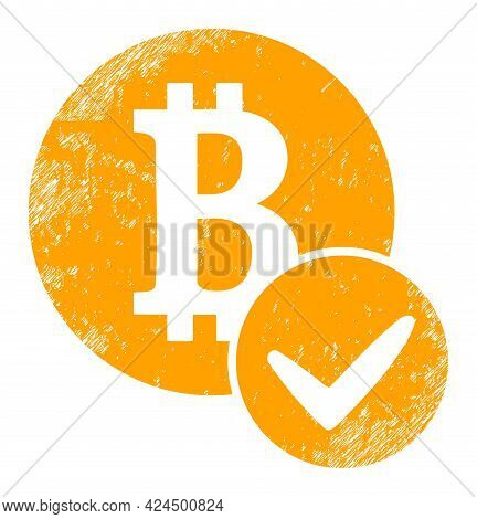 Valid Bitcoin Icon With Grunge Effect. Isolated Raster Valid Bitcoin Icon Image With Distress Rubber