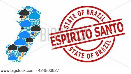 Climate Mosaic Map Of Espirito Santo State, And Rubber Red Round Stamp Seal. Geographic Vector Mosai