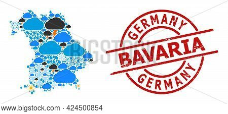 Climate Mosaic Map Of Bavaria State, And Grunge Red Round Stamp. Geographic Vector Composition Map O
