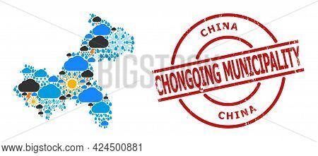 Climate Mosaic Map Of Chongqing Municipality, And Scratched Red Round Badge. Geographic Vector Mosai