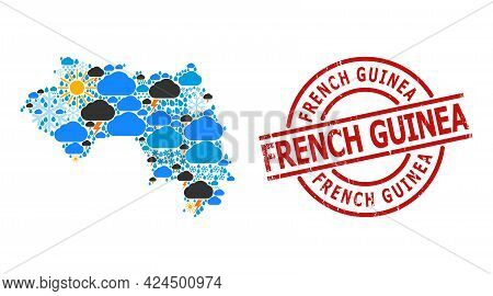 Climate Mosaic Map Of French Guinea, And Textured Red Round Seal. Geographic Vector Mosaic Map Of Fr