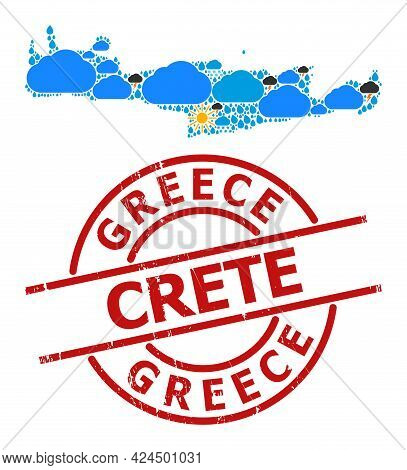 Climate Collage Map Of Crete Island, And Grunge Red Round Stamp Seal. Geographic Vector Collage Map