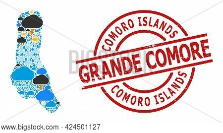 Climate Mosaic Map Of Grande Comore Island, And Scratched Red Round Seal. Geographic Vector Composit