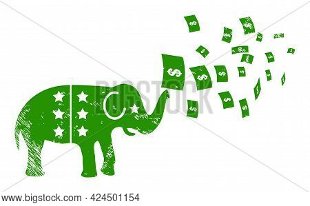 American Stimulus Money Inflation Icon With Scratched Style. Isolated Raster American Stimulus Money