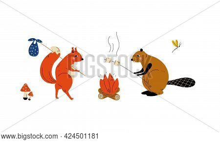 Humanized Animal Characters Having Camping Adventure Frying Marshmallow Vector Set
