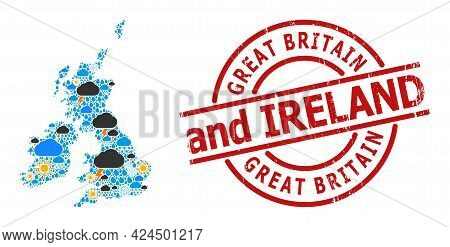 Climate Mosaic Map Of Great Britain And Ireland, And Scratched Red Round Seal. Geographic Vector Mos