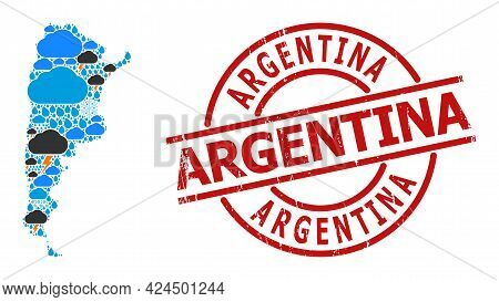 Weather Collage Map Of Argentina, And Distress Red Round Seal. Geographic Vector Collage Map Of Arge