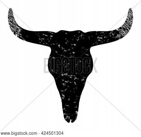 Dead Bull Head Icon With Scratched Effect. Isolated Raster Dead Bull Head Icon Image With Scratched