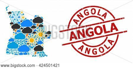 Climate Collage Map Of Angola, And Rubber Red Round Stamp Seal. Geographic Vector Collage Map Of Ang