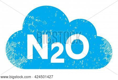 Nitrous Oxide Gas Icon With Grunge Style. Isolated Raster Nitrous Oxide Gas Icon Image With Grunge R