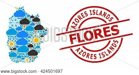 Climate Collage Map Of Azores - Flores Island, And Scratched Red Round Badge. Geographic Vector Conc