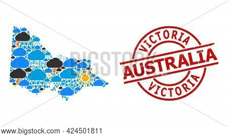Weather Mosaic Map Of Australian Victoria, And Textured Red Round Stamp. Geographic Vector Mosaic Ma