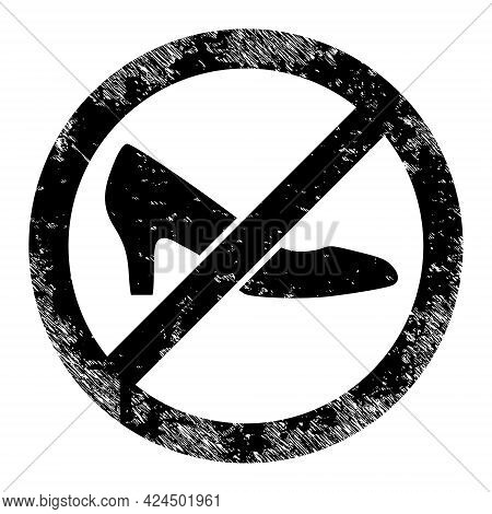 Forbidden Shoes Icon With Scratched Effect. Isolated Raster Forbidden Shoes Icon Image With Scratche