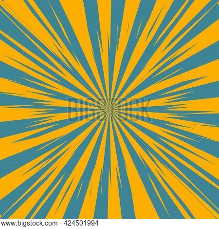 Pop Art Radial Colorful Comics Book Magazine Cover. Striped Orange And Blue Digital Background. Cart