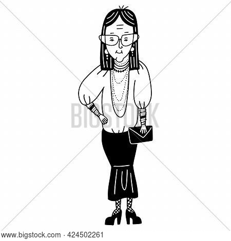 Old Woman Lady, Elderly Female Person With Eyeglasses. Fit Grandmother, Granny Wearing Godet Skirt A
